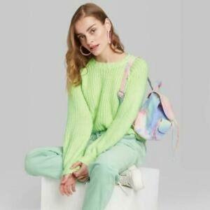 New Wild Fable Neon Green Cozy Warm Crew Sweater